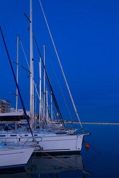 Blue night sky over the coast of Volos, Greece