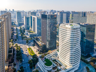 Aerial photos of skyline of architectural landscape along Qiantang River in Hangzhou Fotobehang