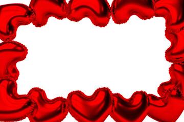 Frame from balloons in heart shape along the perimeter of the banner Fotobehang