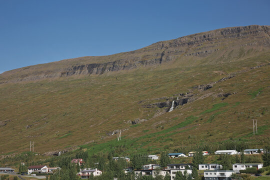 Small town of Eskifjodur located in east Iceland is surrounded by beautiful landscapes