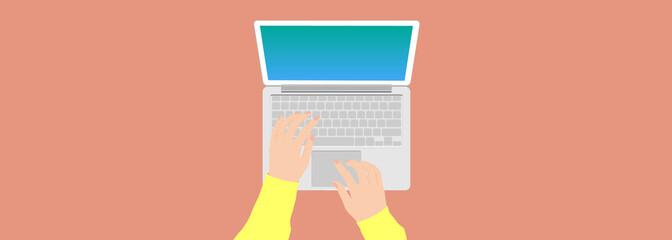 Female hand operating a laptop keyboard. web banner, web header, footer, flier, landscape,
