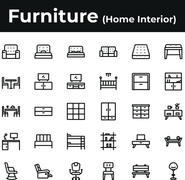 Furniture and home interior icon set