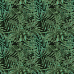 Printed kitchen splashbacks Tropical Leaves modern seamless pattern of tropical jungle plants and sentries. Complex shades of green. Spring and summer design is perfect for printing booklets, prints, factories, clothing. EPS10