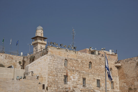Tower at the Western 'Wailing' Wall of Ancient Temple in Jerusalem. The Wall is the most sacred place for all jews in the world