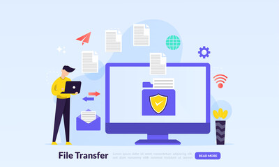 Fototapeta file transfer concept, sharing files between devices with folders on screen and transferred documents, Backup files, flat icon,suitable for web landing page, banner, vector template