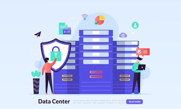 Data center concept, technology of data protection and processing, cloud connection hosting server, database synchronize system, flat icon,suitable for web landing page, banner, vector template