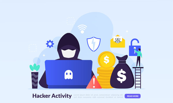 Hacker activity concept, security hacking, online theft, criminals, burglars wearing black masks, stealing personal information from computer, flat icon,suitable for web landing page, banner, vector t