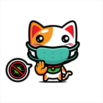 design the cute lucky cat character wearing a mask against the virus