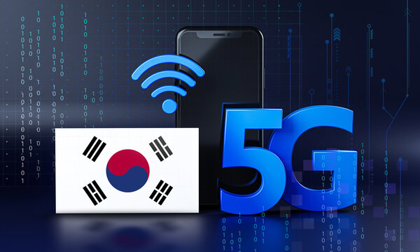South Korea Ready for 5G Connection Concept. 3D Rendering Smartphone Technology Background