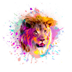 lion head on a green background