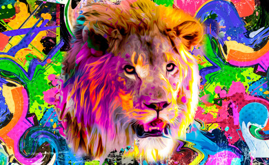lion head on a color background