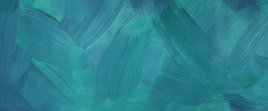 Dark turquoise art background. Large brush strokes. Acrylic paint in aquamarine or celadon colors. Abstract painting. Textured surface template for banner, poster. Narrow horizontal illustration