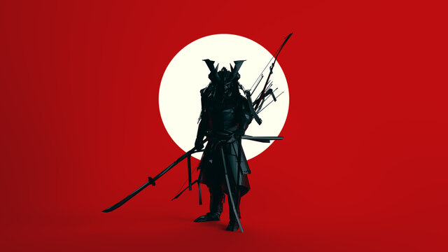 Black Samurai Polygon Form with Large White Sphere Circle with Red Background 3d illustration 3d render
