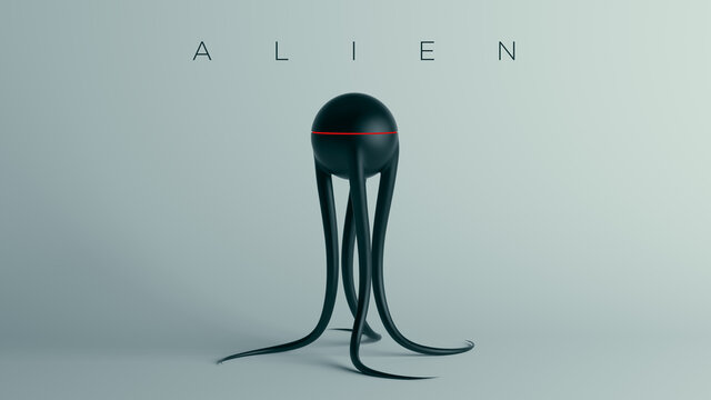 Black Spheroid Alien with Long Tentacles and Red Stripe with Alien Text 3d illustration render