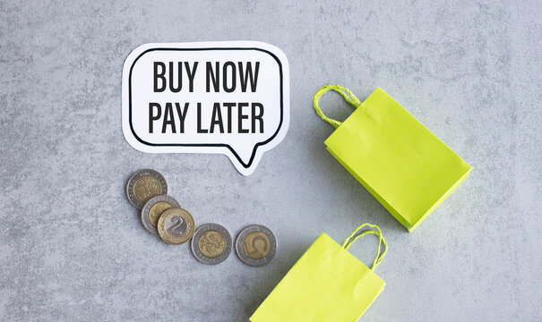 The words Buy Now Pay Later in text on a note card a reminder to purchase on credit