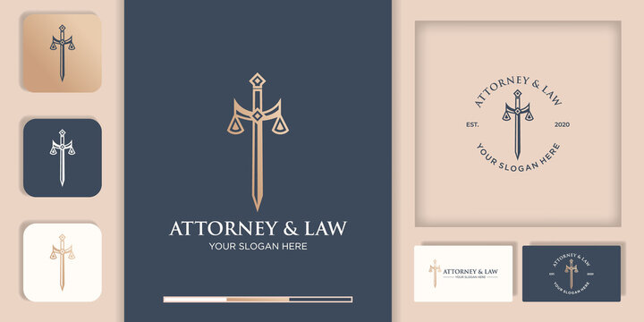 law logo design, sword of justice and business card