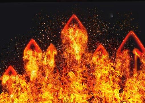 抽象的な炎の矢印