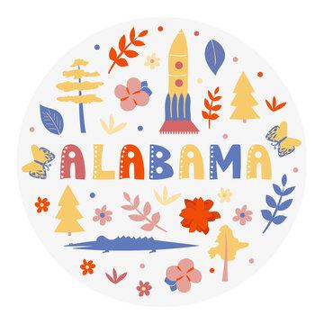 USA collection. Vector illustration of Alabama theme. State Symbols - round shape