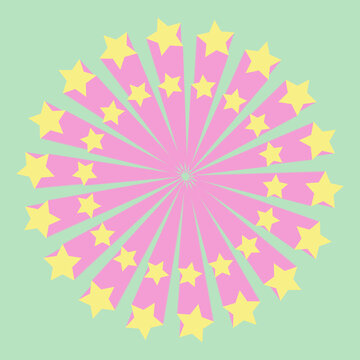 Retro stars on a circle digital vector art in pastel colors.
