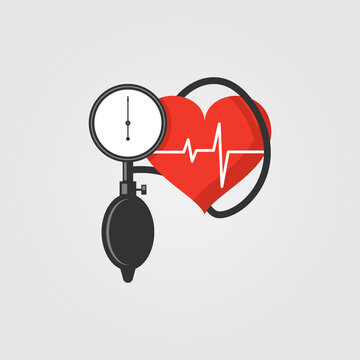 Blood pressure measuring icon in flat design style.