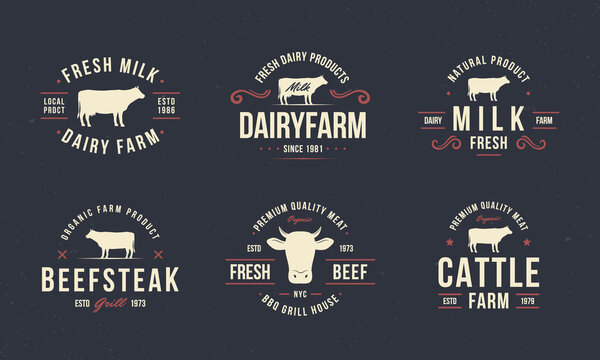 Beef, cow logo set. Vintage beef logo templates with cow silhouette. Beef emblems for butcher shop, restaurant, steak house, restaurant, barbecue, grocery store design.Vector illustration