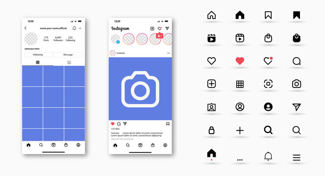 instagram icons, mockup social media template , new update instagram post mock up , frame social network