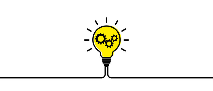 Electric lamp. A light bulb icon. A light bulb with gears. Light bulb included or idea line art icon for apps and websites. Vector illustration.