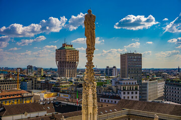 Panoramic view of the skyline of the city seen from the terraces of Milan Cathedral