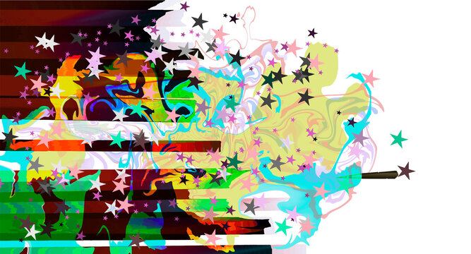 Abstract multicolor bright curves, lines and stars holiday festive background isolated on while at one side layered eps10 vector illustration. Add your own text under one of the template layers.