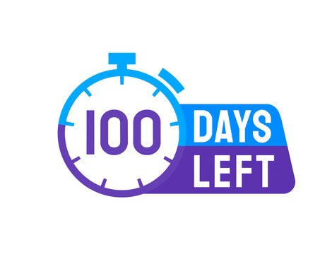 100 Days Left labels on white background. Days Left icon