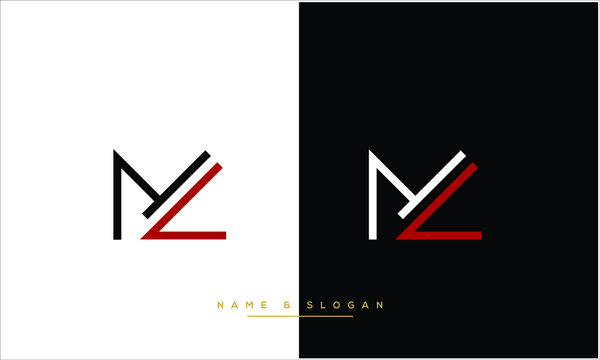 ML ,LM Abstract Letters Logo Monogram