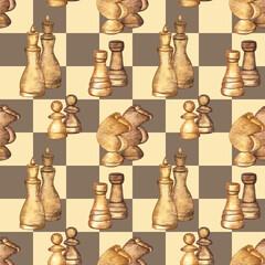 Modèle sans couture avec des pièces d& 39 échecs sur fond d& 39 échiquier. Éléments dessinés à la main à l& 39 aquarelle. Style moderne et éclectique.