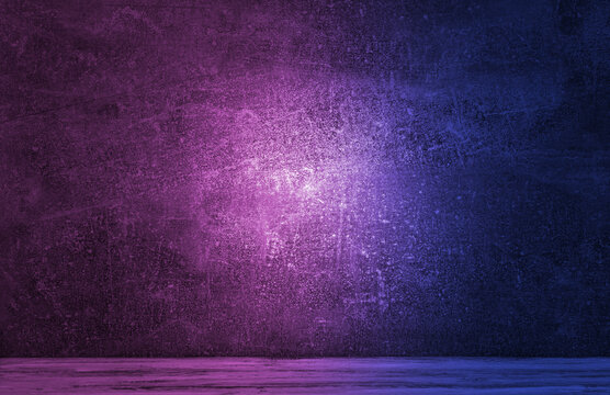 Neon light on concrete wall texture background. Lighting effect blue and red neon background for product display, banner, or mockup