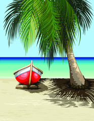 Boat on Sunny Tropical Beach Tranquil Exotic Scenery Vector illustration