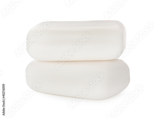 Wall mural Soap bars on white background. Personal hygiene