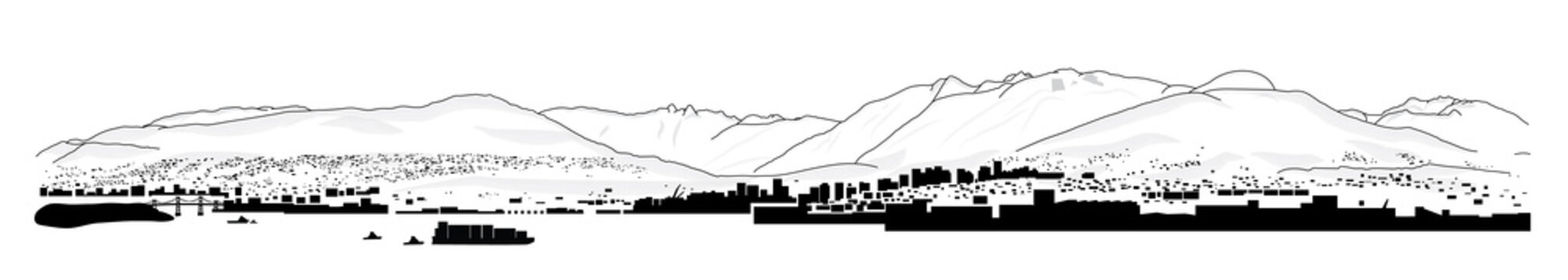 North shore mountains. Panorama illustration or drawing of local mountains and peak in Vancouver BC, Canada. View of lions gate bridge, harbor, industry, North and West Vancouver. Tourist information.