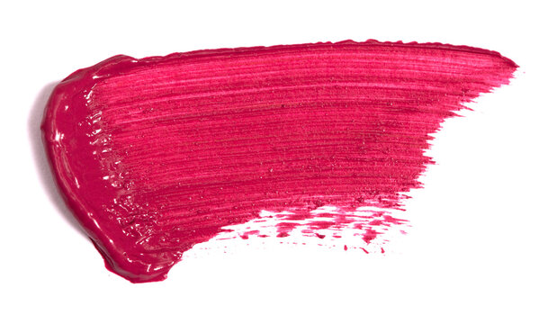 Single Smear of Lipstick and Lip Gloss Swatch on a White Background