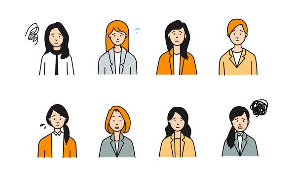 かなしい表情をした8人の女性ビジネスマンアイコン