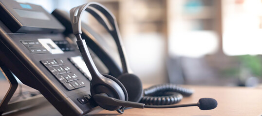 Communication support, call center and customer service help desk. VOIP headset for customer service support (call center) concept