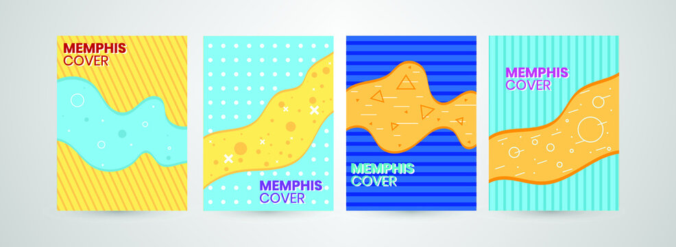 colorful Memphis cover collection concept Free Vector.