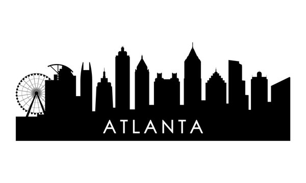 Atlanta Georgia skyline silhouette. Black Atlanta city design isolated on white background.