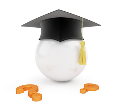 Graduation hat question mark on a white background 3D illustration, 3D rendering