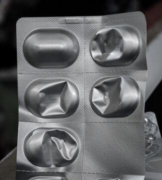 Blister pack of antibiotics, last one