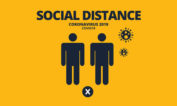 Social distancing banner template. Keep safe distance of 2 meter or 6 feet to protect from COVID-19 coronavirus outbreak spreading. Prevention information sign. Flat design vector illustration.