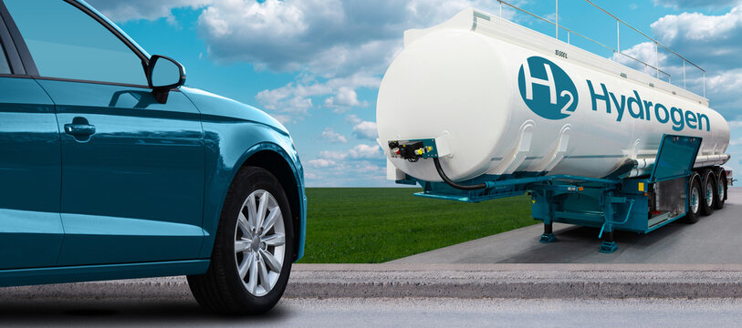 Blue car on hydrogen fuel with H2 tank trailer on a background of green field and blue sky