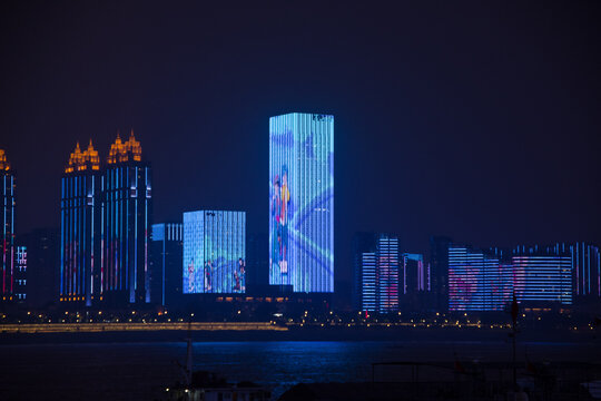 wuhan, china, 10/19/2019 , Wuhan city at night with lights illuminating the city.