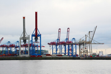 View to Hamburg port from Docklands