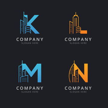 Letter K L M and N with abstract building logo template