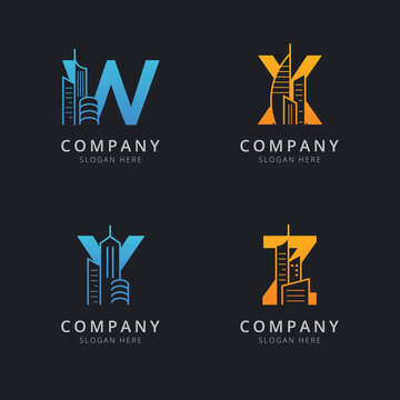 Letter W X Y and Z with abstract building logo template