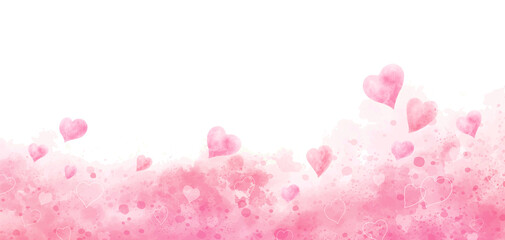 Fototapeta Valentine's day and wedding background design of watercolor hearts vector illustration obraz